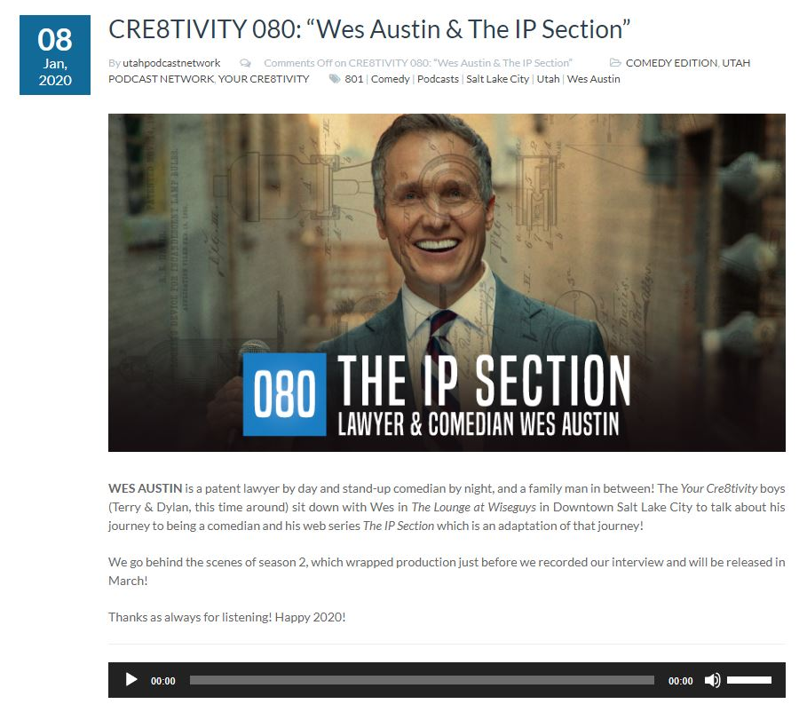 Wes Austin & The IP Section on the Your Cre8tivity Podcast