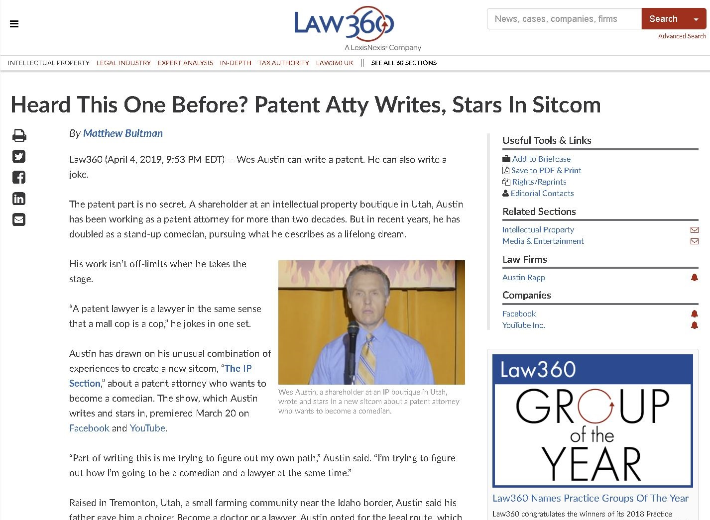 "Law360 Article – ""Heard This One Before? Patent Attorney Writes, Stars in Sitcom"""