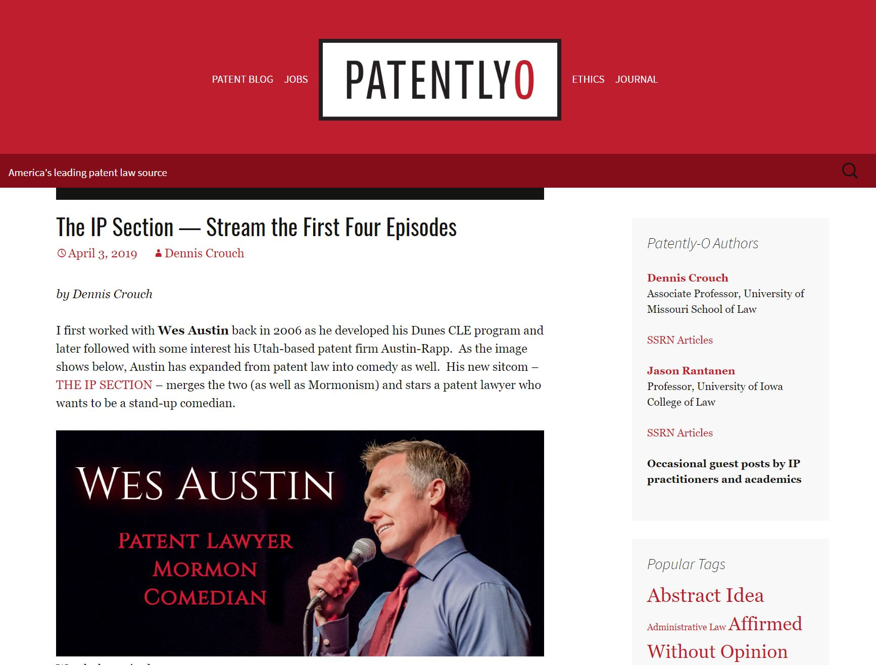 "Patently-O Post on New Comedy Series ""The IP Section"""